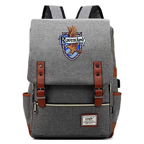 Ravenclaw Bolsa de la Escuela, Harry Potter Mochila portátil Mochila Bolsa con Puerto de Carga USB Unisex Gris