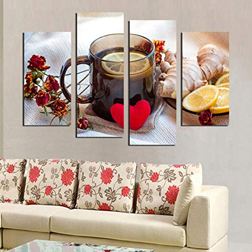 UDPBH 4 Panel Canvas foto's Een kopje zwarte thee muurkunst afbeelding drukposter afbeelding op canvas voor bank achtergrond muurtattoos