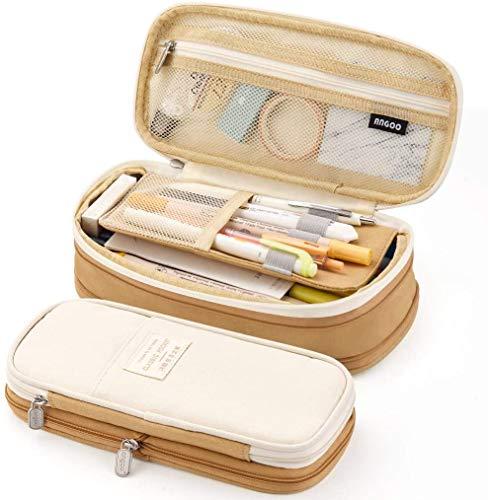 Estuche para bolígrafos de gran capacidad, bolsa de almacenamiento multifuncional, estuche para estuches, organizador de papelería para oficina, colegio, escuela (marrón)