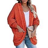 Moda para Mujer otoño e Invierno línea Gruesa Twist Cardigan suéter Casual Cuerda giratoria Chaqueta de Cuerda de cáñamo suéter de Manga murciélago Invierno cálido