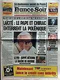 FRANCE SOIR [No 16212] du 20/09/1996 - LE DOULOUREUX SECRET DE PAPIN - JEAN-PAUL II EN FRANCE - LAICITE - LE PAPE ET CHIRAC - LE...
