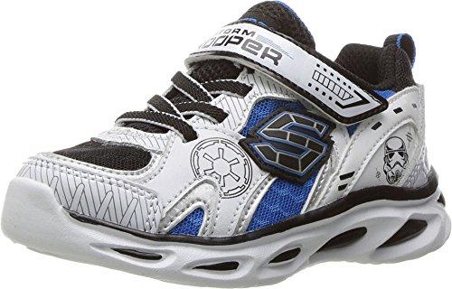 Skechers Boy's Star Wars Storm Trooper Sneaker, White/Blue, 5 (Toddler)
