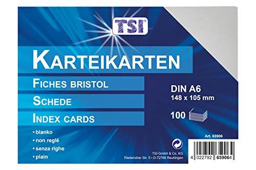 TSI Karteikarten DIN A6, 100-er Packung, blanko, weiß