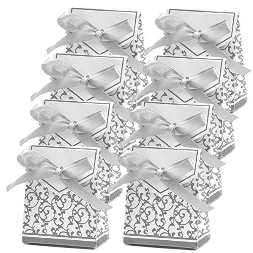 100 Pack Party Favor Boxes, Silver Decorative Boxes with Ribbons, for Small Party Gift, Chocolate, Wedding Cake Slices