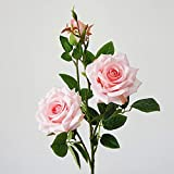 whbage Fleur séchée 2 pcs Artificielle Paris Parfum Roses Faux Fleurs Soie Flores Artificiales pour La Fête De Mariage Décoration Babyshower Rose