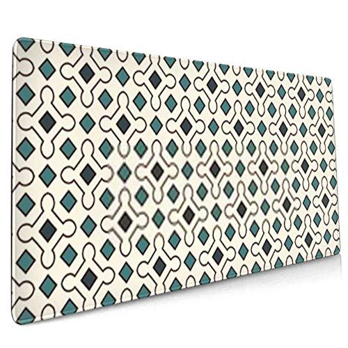Langes Mauspad (90 x 40 cm), blau, nahtloses Muster, wiederholte geometrische Figuren, Schreibtischunterlage, Tastaturunterlage, rutschfeste Unterseite, wasserabweisend, für Arbeit und Gaming