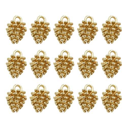 Healifty - Colgante de Navidad con piñas y dijes retro de aleación para la creación de joyas, manualidades, pulseras, collares, de Navidad, bomboneras, suministros, 100 piezas de oro