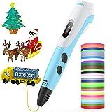 AGPTEK Pluma de Impresión 3D para Niños, Lapiz 3D Compatible ABS, PLA con Filamentos de 30 Color (91.44M), Dibujo de la Plantilla, Regalo de Cumpleaños para Niños, Adultos