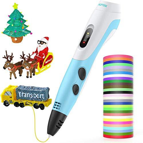 AGPTEK Pluma de Impresión 3D para Niños, Lapiz 3D Compatible ABS, PLA con Filamentos de 30 Color (91.44M), Dibujo de la...
