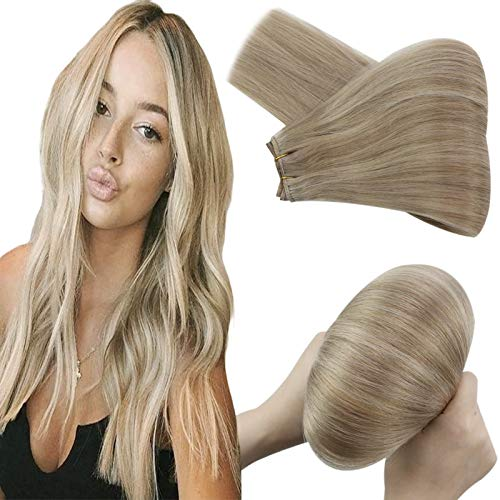 YoungSee Weft Hair Extensions 16inch Weft Blonde Hair Extensions Human Hair Weft Extensions Sew in Hair Extensions #16 with #22 Blonde Highlights Double Weft Remy Hair Extensions 100gram