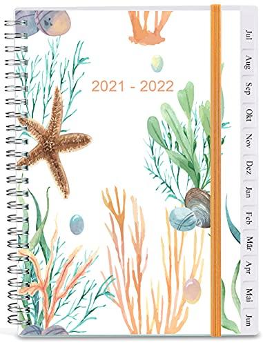 2021-2022 Terminkalender, A5 Wochenterminbuch & Planer mit monatlichen Registerkarten, Rückentasche, elastischer Verschluss, flexibler Einband, Doppeldrahtbindung, einfaches Organisieren des tägliche