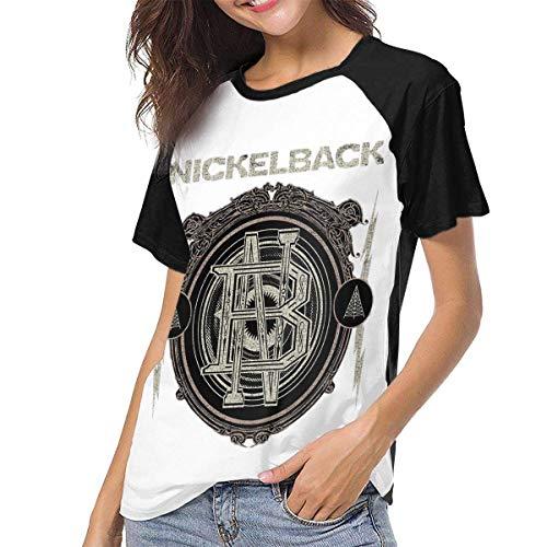 Nickelback Women Frauen Baseball T Shirt Hemd Round Neck Tops Casual Shirt