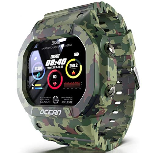 ASDF Smart Watch Fitness Tracker, Herz-Rhythmus Nachricht Erinnerung, Schlaf-Tracking-Pedometer Wecker, Wasserdicht HD Display, Kompatibel Mit Android IOS (Color : Green)