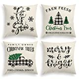 AVOIN Christmas Black and White Buffalo Plaid Throw Pillow Cover, 18 x 18 Inch Holiday Saying Farmhouse Cushion Case for Sofa Couch Set of 4