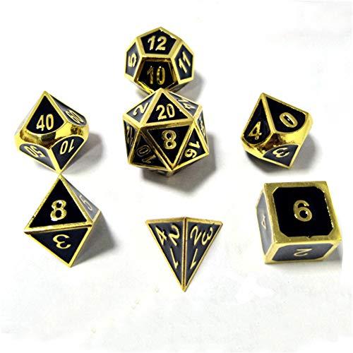 Sunnay 7 Stück Metall Würfel DND Polyhedral Solid Metall D&D Würfel Nickel Set mit Zahlen,Einsteigerset A3 Stil