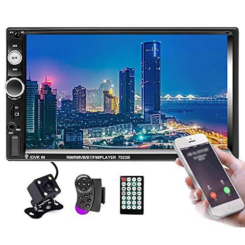 Hikity 2 DIN Radio de Coche Bluetooth 7 Pulgadas Estéreo de Coche Pantalla Táctil Receptor FM Soporta Enlace de Espejo USB Entrada AUX Puerto para Tarjetas TF + Cámara de Seguridad &Mando a Distancia