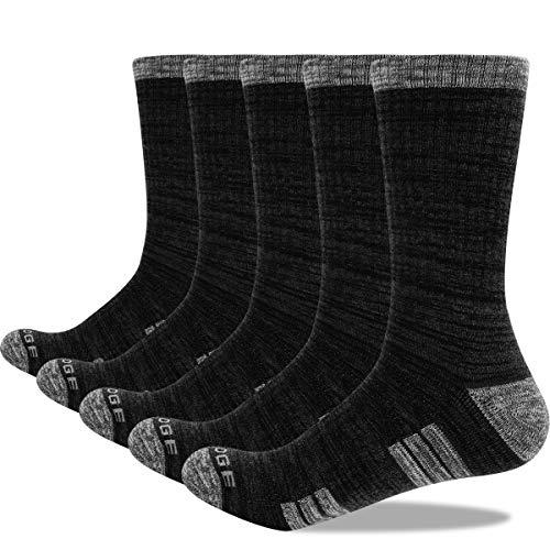 YUEDGE 5 Pares Calcetines Senderismo y Trekking de Trabajo Montaña para Hombre medio Gruesos alto rendimiento Transpirable Algodon Calcetines Botas Negro XL