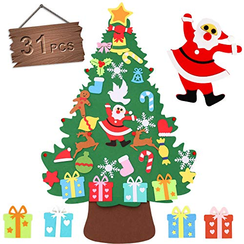 Seniny DIY 3.3 ft Felt Christmas Tree Kids Craft Set with 31Pcs, Wall Hanging Detachable Felt Christmas Tree Ornaments and Xmas Decorations Toddlers Kit Kids Gifts Party Supplies