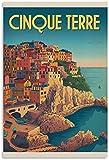 APAZSH Posters para Pared Póster de la Vendimia, Poster de la reimpresión del Turismo de Viaje de Cinque Terre Italiano, Pintura Decorativa, Lienzo, Poster artísticos de Pared 40x60cm x1 Sin Marco