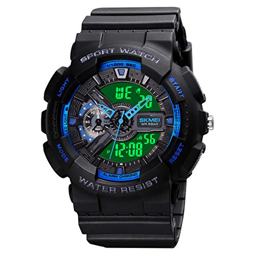 Mens Digital Sports Watch Large Face Sports Outdoor Waterproof Military Chronograph Wrist Watches for Men with Date Multifunction Tactics LED Army Stopwatch Blue
