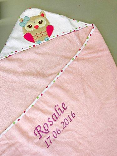 Kapuzenhandtuch bestickt mit Name und Geburtsdatum / 100x100 cm/kuschelig weich / 1A Qualität (Rosa - EULE)
