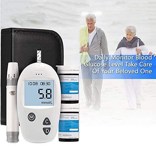 Blutzuckermessgerät, Blutzuckermessgerät Accu Sicher, Diabetes Test Kit mit getrennten Teststreifen Freies x 50 und Schmerzlos Lancets x50