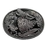 YONE Hebilla de cinturón Howling Wolf Coyote Brocade Cowboy Belt Buckle
