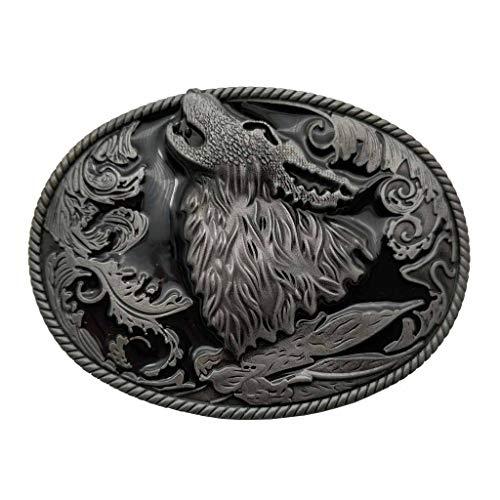Hebilla de cinturón Howling Wolf Coyote Brocade Cowboy Belt Buckle
