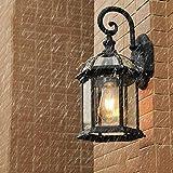 Retro E27 Outdoor Wandleuchte Schwarz Aluminium und Glas Schatten Antike Wandlampe Außen Innen Wasserdichter IP44 Gartenlampe Hoflampe Eingangs Beleuchtung