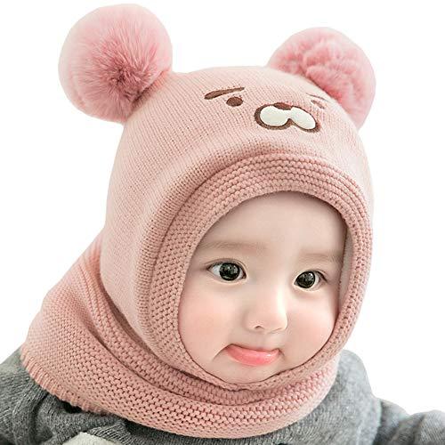 Vobony Baby schlupfmütze Warm Niedlich Bär Wintermütze Schalmütze Strickmütze mit Bommel Fleecefutter Beanie Mütze (Pink)
