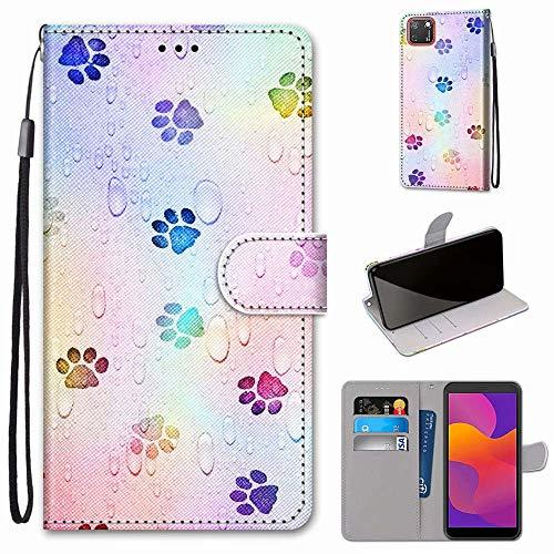 Miagon Flip PU Leder Schutzhülle für Huawei Y5P,Bunt Muster Hülle Brieftasche Case Cover Ständer mit Kartenfächer Trageschlaufe,Fußabdruck