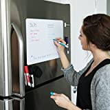 Magnetic Dry Erase Whiteboard Sheet for Kitchen Fridge: with Stain Resistant Technology - 17x11 - Includes 4 Markers and Big Eraser with Magnets - Refrigerator White Board Organizer and Planner