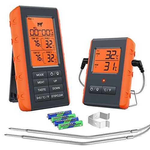 Brifit Wireless Grillthermometer, Digitales Bratenthermometer, Fleischthermometer mit 2 Sonden & Großes LCD-Display, Thermometer Küche mit Timer und Alarm für Grill, Smoker, Kochen