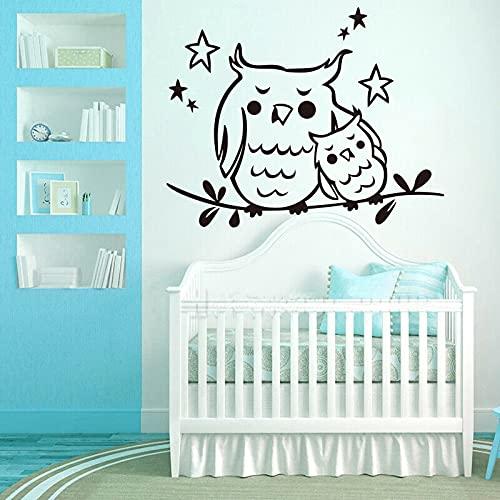 AKmene Pegatina pájaro Madre bebé búho Vinilo Pared calcomanía Arte Papel Tapiz 90X110cm