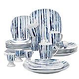 *VEWEET Joyce 20 Peces Vaixelles de Porcellana Jocs amb 4 Oueres, 4 Tasses *Mugs 350 ml, 4 Bols de Cereals, 4 Plats i 4 Plats per a postres per a 4 Persones