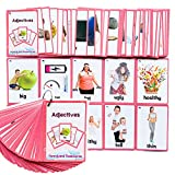 Richardy 46PCS/Set Adjectives Kids Gifts English Flash Cards Pocket Card Educational Learning Baby Toys for Children Pre-Kindergarten