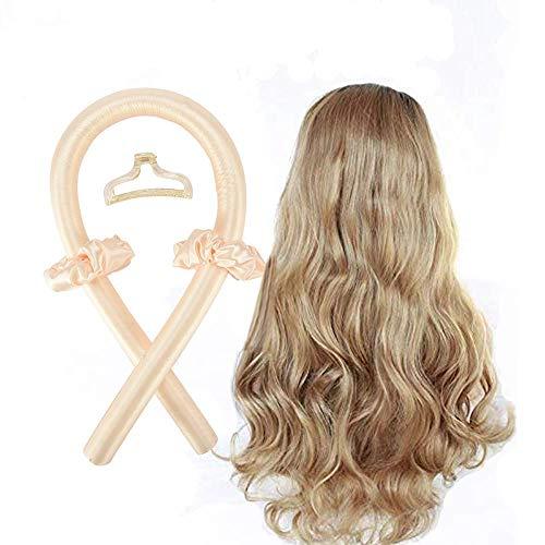 Heatless Curling Rod Stirnband, No Heat Curls Seidenband Hair Rollers Schlafen Weiches Stirnband Wave Formers Haar Lockenwickler DIY Haarstyling-Tools für langes mittleres Haar (Gelb)