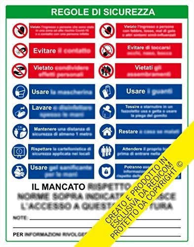Generico Cartello Nuove Regole di Sicurezza Come da Nuovo DECRETO COVID-19_ETCOV01-PLCOV01 (Adesivo Permanente per Interni, 70x55 cm)