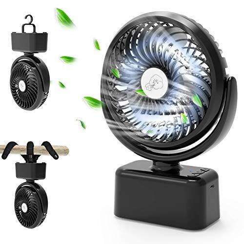 Tragbarer USB Ventilator,Mini Tischventilator mit Automatisch Oszillierend,Leiser Handventilator mit fexiblem Stativ/5000 mAh Akku/3 Geschwindigkeiten/12 LED Lampe,Ventilator für Kinderwagen Büro Zelt