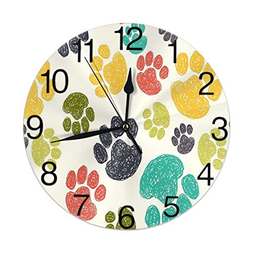 ALLdelete# Wall Clock Bunte Hund Tierpfoten Runde Wanduhr Lautlos, Nicht tickend, batteriebetrieben Einfach zu lesen für Schüler Büro Schule Home Dekorative Uhr Art-QT
