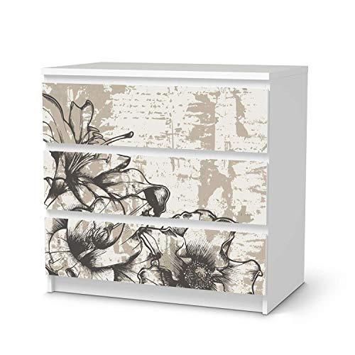 creatisto Möbelfolie passend für IKEA Malm Kommode 3 Schubladen I Möbeldeko - Möbel-Folie Tattoo Sticker I Wohn Deko Ideen für Wohnzimmer, Schlafzimmer - Design: Styleful Vintage 1
