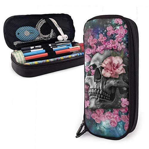 NiYoung Fashion Big Capacity Pencil Pen Case Stationery Box Desk Organizer with Zipper Storage Pouch Holder for School Office Supplies - Multi Colorful Flowers Sugar Skull Galaxy