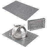 mDesign Set da 3 Tappetini per lavello cucina in plastica – Grande tappetino lavandino e protezione bordo ritagliabili – Accessori cucina per lavello a doppia vasca – grigio