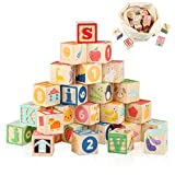 Joqutoys Wooden ABC Building Blocks for Toddlers 1-3, Wood Alphabet...