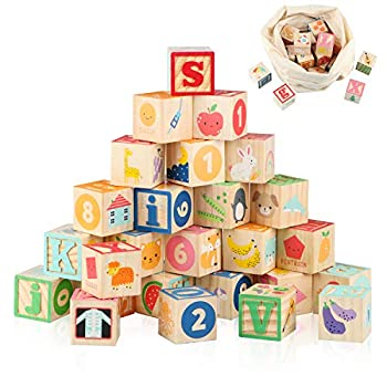 Joqutoys Wooden ABC Building Blocks for Toddlers 1-3 Wood Alphabet Number Baby Blocks for Stacking 26 PCS Preschool Learning Educational Games Montessori Sensory Toys for Boys and Girls Gifts 1.65