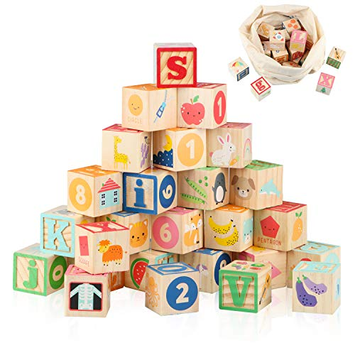 """Joqutoys Wooden ABC Building Blocks for Toddlers 1-3, Wood Alphabet Number Baby Blocks for Stacking, 26 PCS Preschool Learning Educational Games Montessori Sensory Toys for Boys and Girls Gifts 1.65"""""""