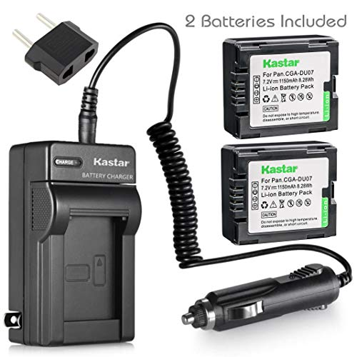 Kastar Battery (2-Pack) and Charger for Panasonic CGA-DU06 CGA-DU07 CGA-DU14 CGA-DU21 VW-VBD070 VBD140 VBD210 and PV-GS31 PV-GS33PV-GS34 PV-GS35 PV-GS39 PV-GS400 PV-GS500 PV-GS50 PV-GS50S PV-GS55