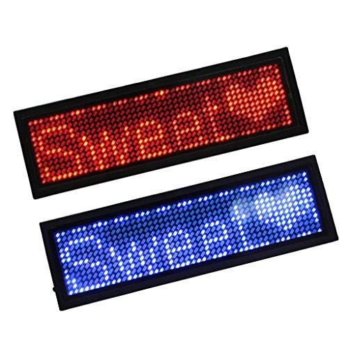 Dolity 2 Piezas de Letrero Iluminado con luz LED Que Muestra Nombre de Placa distintiva de Insignia de exhibición - Rojo + Azul