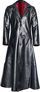 wuliLINL Leather Men's Long Coat Glossy Faux Leather Trench Gothic Long Winter Coat Jacket S-5XL