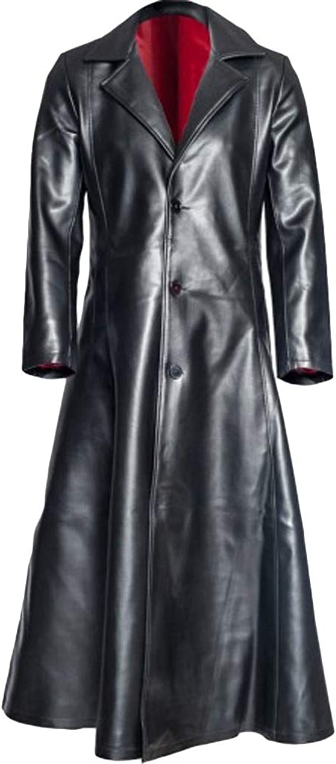 Men's Steampunk Jackets, Coats & Suits Mens Retro Leather Vintage Long Coat Trench Steampunk Gothic Jacket Overcoat  AT vintagedancer.com